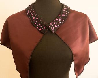 Burgundy  silk  cape