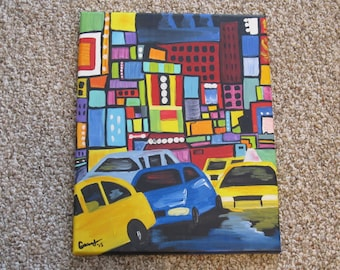 Abstract New York City Time Square Painting