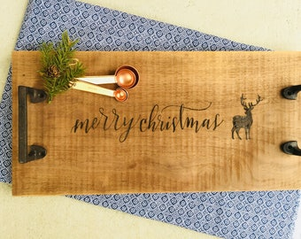 Merry Christmas Rustic Wood Burned Tray with Handles