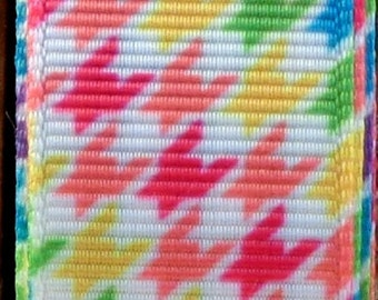"""2 Yards 7/8"""" Bright Multi-Color Houndstooth Print Grosgrain Ribbon"""