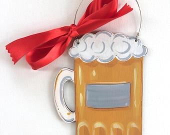 Beer mug Ornament - craft beer drinker gift - painted beer mug - personalized ornament - gift for beer drinker - dad ornament - stein