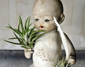 15% OFF - My Little Gardener - Vintage Japaneses Porcelain Doll - Air Plant Garden - Unique Terrarium - Creepy Cute - Unique Gifts