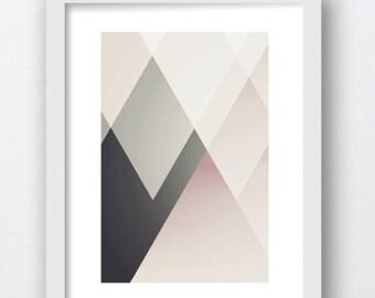 Nursery Art, Mountain Art, Girl Pink Nursery Art, Pink Gray Geometric Mountain Print, Girl Nursery, Pink Gray  Nursery Print Art, Nursery