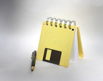 Floppy Disk Notebook - Geek Book - Recycled Computer Diskette - Pastel Yellow