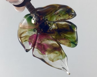 Glass leaf pendant, antique key, vintage key , lampwork leaf key, goldstone glass leaf,lampwork, tiny skeleton key, sculptured glass leaf,