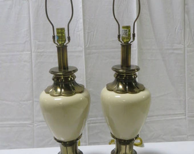 Rewired Ca. 1940s Solid Brass and Ceramic Glazed in Creamy Beige with solid Brass Ball Finials by Stiffel Lamps