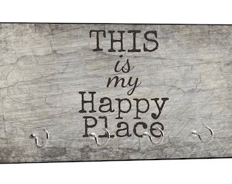 "This is My Happy Place Quote on Grunge Print - 5"" by 11"" Key Hanger Household Decoration with Four Hooks"