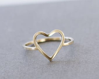 Solid Yellow Gold Open Heart Ring- Promise Ring