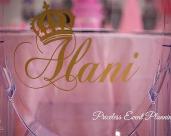 Princess/Crown/Royal/Prince Name Ghost Chair Decal/ Vinyl Chair Sign