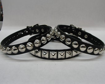Vegan Friendly Material Collar Studded Spiked With Buckle closure Silver/Chrome Hardware Handmade in U.S.A. Cone Pyramid Round Dome Choker