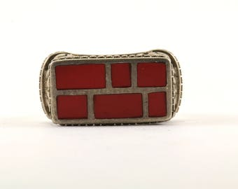 Vintage Rectangle Red Coral Scroll Design Signet Ring 925 Sterling Silver RG 1703-E
