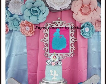 Cinderella's paper flowers backdrop