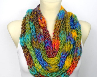 Knit Infinity Scarf for Women Scarves with Button Rainbow Scarf Chain Scarf Finger Knit Scarf Knit Statement Necklace Gift Mom from Daughter