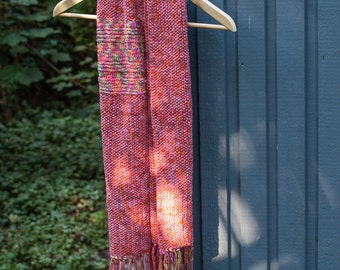 Handknit scarf ready to ship lovely reds unisex handmade scarf Annegret// mixed fibres scarf