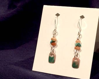 Sunstone & Turquoise Earrings with Enamel on Copper and .925 Sterling Silver