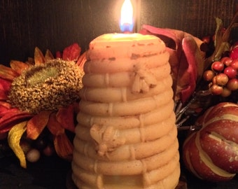 100% Pure Beeswax Grungy Beehive candle / Large Bee skep candle