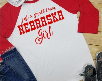Nebraksa Shirt, Football Raglan, Football shirt. Huskers, Nebraska Girl, nebraska husker shirt, husker long sleeve shirt, women husker shirt