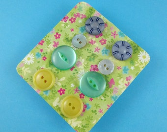 Button Earrings - set of four pairs of studs - plastic buttons in blue, yellow, green and iridescent shell - cute kitsch novelty Harajuku
