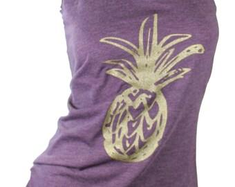 pineapple shirt,  pineapple tank top, pineapple tee, pineapple t shirt, graphic tanks for women,  missFITTE, gold glitter, pineapple print