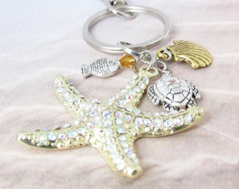 Gold Starfish Keychain, Shell Keychain, Beach Keychain, Car Accessories, Turtle Keychain, Beach Gift,  for Her, K17