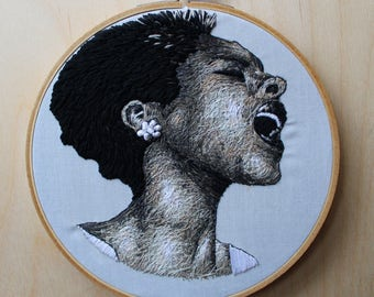 Billie Holiday Hand Embroidered Thread Painting Portrait