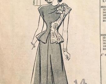 "Vintage 1940s Misses' Anne Adams Mail Order Two-Piece Dress Pattern 4526 Size 14 (32"" Bust)"