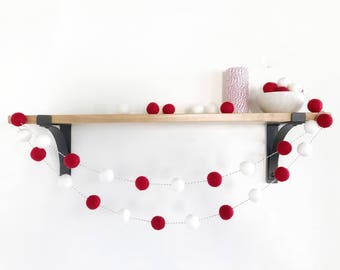 Christmas Felt Ball Garland, Holiday Pom Pom Garland, Banner, Valentines Day Red and White Party Decor