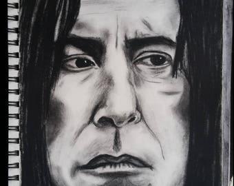 Severus Snape 8.25x12 charcoal drawing