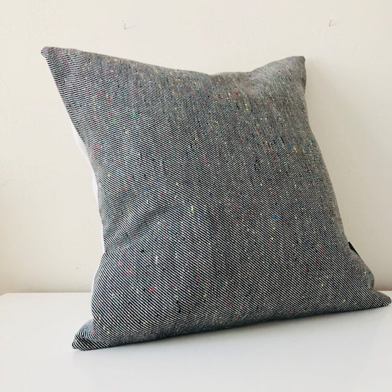 "Black and White Pillow Cover 18""x18"" Square Cushion Vintage Fabric Colorful Speckled Black and White Striped Vintage Modern Pillow"
