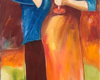 Conversation 14, oil painting, canvas, wall art, lovers, hug, figure painting, love