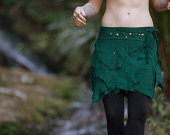 Tao Pocket Skirt (Green) - Festival Clothing Crochet Boho Wrap Around Gypsy Pocket Skirt Goa Fairy Jungle Bohemian Skirt