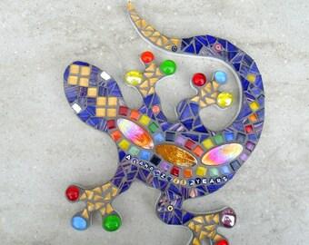 Mosaic gecko, Personalised, personalized, multicolour, rainbow, garden ornament, yard art, anniversary, birthday, names, dates, custom gift