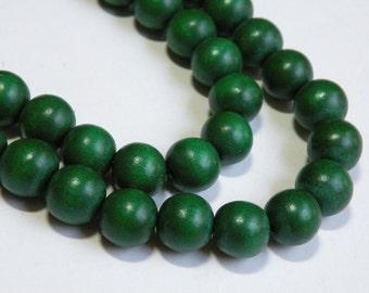 Emerald Green wood beads round 12mm full strand eco-friendly Cheesewood 9488NB