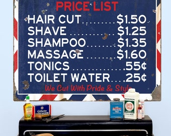 Barber Shop Price List Wall Decal Distressed - #58084