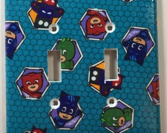 PJ Masks Print Double Toggle Light Switch Plate Cover