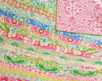 Baby Crib Quilt Girl Blanket Vintage Inspired Shabby Chic Style Kumari Garden Fabric by Dena Design