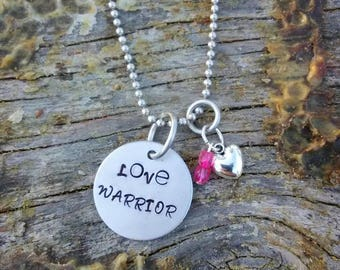 Love Warrior hand stamped pendant. Your choice of either Necklace or Keychain