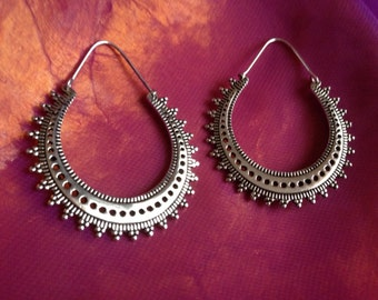 Silver dot tribal earrings