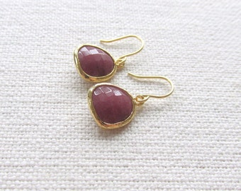 Burgundy Earrings, Minimalist Gold Dainty Dangle Earrings, Bridal