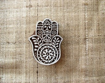 Hamsa Stamp Wooden Handcarved Stamp Paper Clay Stamp