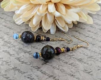 Lapis Earrings, Purple Earrings Dangle, Gypsy Earrings Handmade, Boho Earrings Bohemian Jewelry Sterling Silver, Blue Earrings Handmade Gift