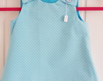 Turquoise Spot Girls Pinafore Dress Age 6 months