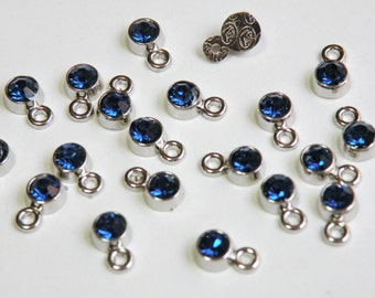 20 Tiny Sapphire Blue Rhinestone Crystal Drops silver finish charms 8x5mm September birthstone DB20417
