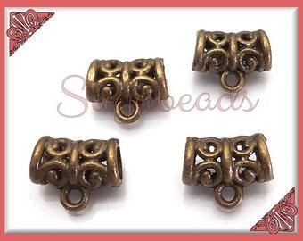 12 Antiqued Brass Bails Scroll Design 11mm