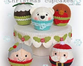 Christmas cupcakes set one PDF, instant doenload, holidays, cupcake, playfood, pretend food, felt food, felt play, santa, polar bear, robin
