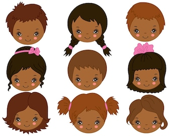 items similar to kids faces clipart digital vector girl boy rh etsy com