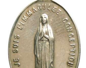 """Immaculate Mary of Lourdes Antique French Religious Medal signed LUDIVIC PENIN (1830-1868) on 18"""" sterling silver rolo chain"""
