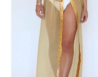 Gold ribbon edged long chiffon Beach Skirt, Sarong, Ribbon tie, Cover Up