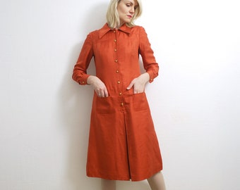60s 70s brick red raw silk dress. silk midi dress. long sleeve mod dress - small to medium