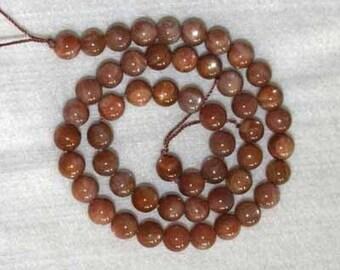 Sunstone, Sunstone Bead, Grade AA, Smooth Bead, Rust, Natural Stone, Semi Precious, Strand, 7mm